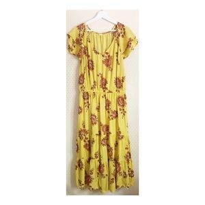 Old Navy Yellow Brown Floral Ruffle Sleeve Dress